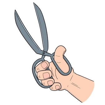 Main à l'aide de ciseaux