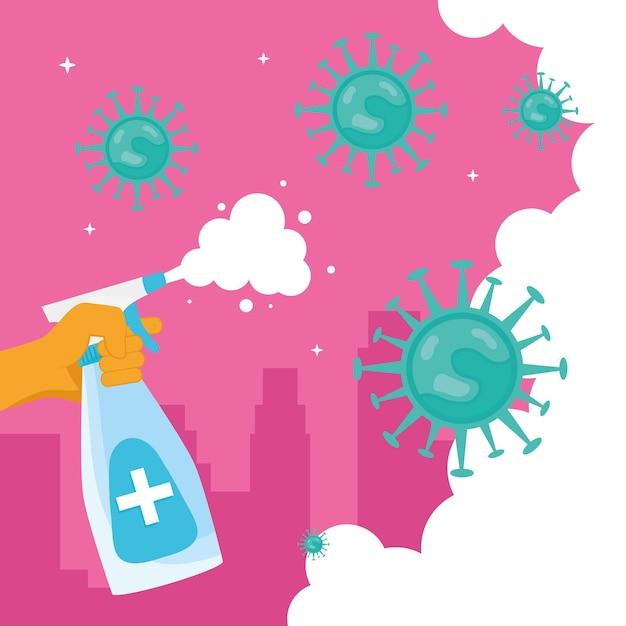 Main à l'aide de désinfectant dans la bouteille d'éclaboussure et illustration de particules