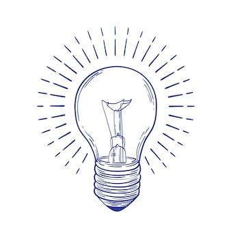 Main d'ampoule à incandescence rougeoyante dessinée avec des lignes de contour bleues isolées sur blanc