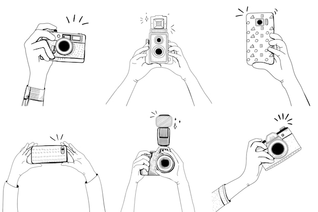Main avec appareil photo