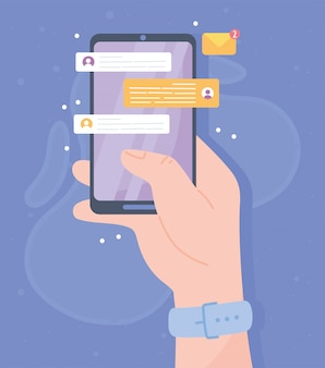 Main avec application de chat smartphone, système de communication de réseau social et illustration de technologies