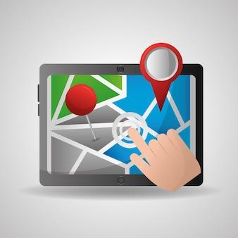 Main de l'application de navigation gps en cliquant sur l'écran ubication destination broche cartes
