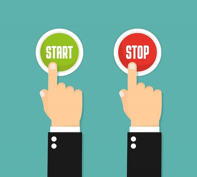 Main en appuyant sur le bouton rouge. style plat. démarrer et arrêter