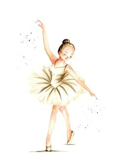 Main aquarelle dessiner belle ballerine