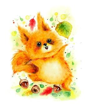 Main aquarelle dessiner un écureuil d'automne réaliste