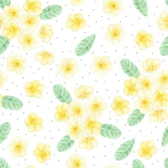 Main aquarelle dessiner modèle sans couture de bouquet de fleurs de frangipanier ou frangipanier jaune