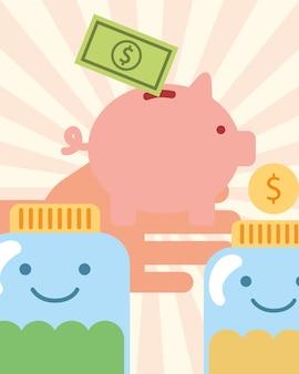 Main avec de l'argent cochon