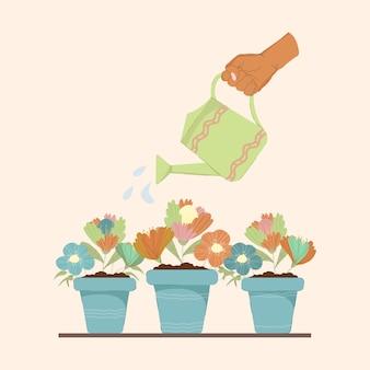 Une main avec un arrosoir arrose des fleurs plantées en pots. illustration colorée pour la conception de cartes de voeux, impression sur tissu et fête des mères. le concept d'entretien des plantes et d'arrosage des plantes.