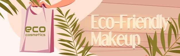 Main de bannière de dessin animé de cosmétiques écologiques tenant le sac fourre-tout
