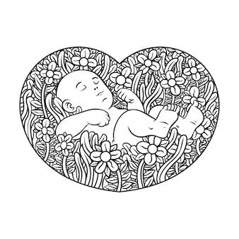 Main de bébé dessin avec fleur à l'icône du cœur de l'amour