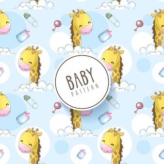 Main de bébé dessiner un modèle sans couture avec la girafe