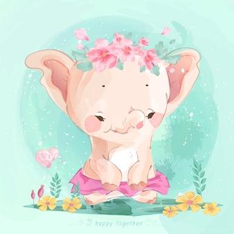 Main de bébé éléphant mignon dessiné dans le modèle sans couture de style aquarelle doux.