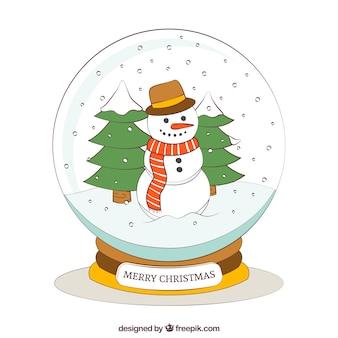 Main bonhomme dessiné l'intérieur d'une boule de cristal