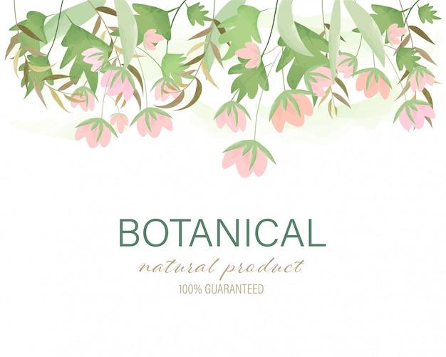 Main botanique fond naturel dessiné peint floral cadre guirlande aquarelle laisse.