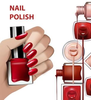 Main avec une bouteille de vernis à ongles rouge illustration de mode et de beautévector template