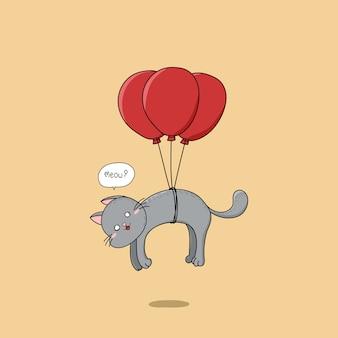 Main chat dessiné mignon volant avec des ballons rouges.