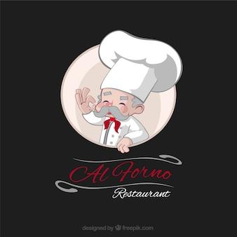 Main chef expérimenté dessiné un restaurant logo