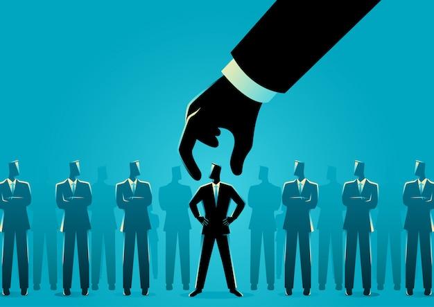 Main, choisir et ramasser l'homme d'affaires