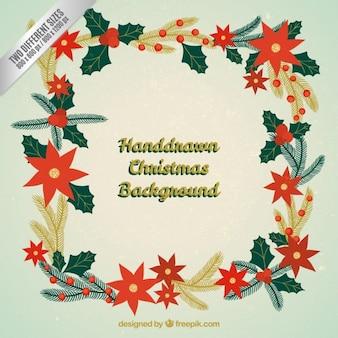Main christmas frame dessinée fond