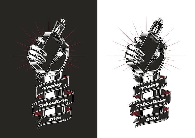 Main avec cigarette électronique, illustration vintage, illustration de vapotage