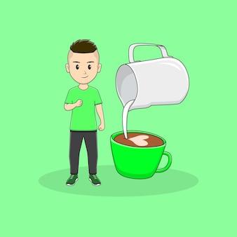 Main de clanch d'homme avec la conception d'art de latte