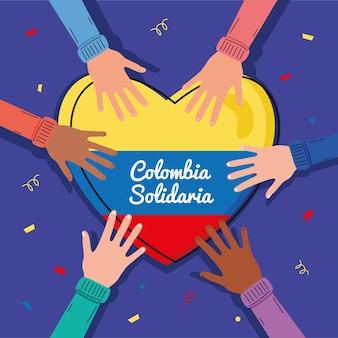 Main avec coeur colombien