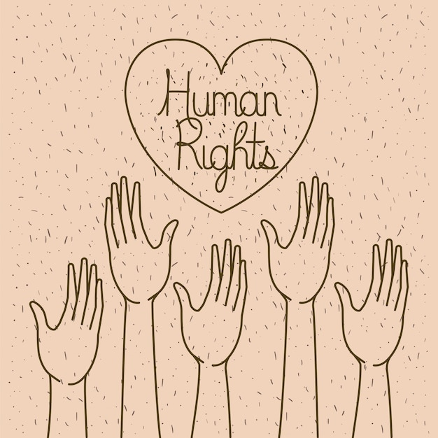 Main avec cœur dessine des droits de l'homme
