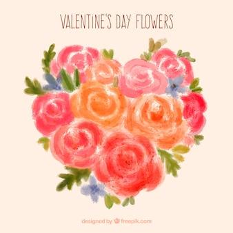 Main coeur peint fait de roses