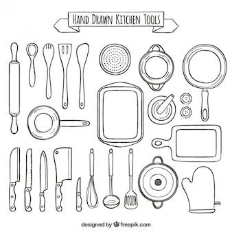 Main collection dessinée d'outils de cuisine