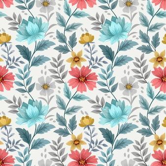 Main colorée dessiner des fleurs sur un modèle sans couture de couleur bleue