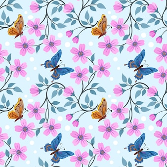 Main colorée dessiner des fleurs et un motif transparent papillon