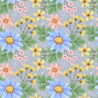 Main colorée dessiner modèle sans couture de fleurs pour papier peint textile tissu.