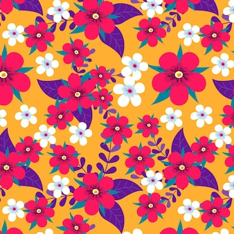 Main colorée dessiner modèle sans couture de fleurs