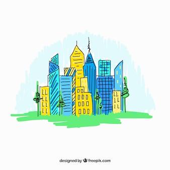 Main colorful dessinée moderne fond de la ville