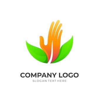 Main avec combinaison d'illustration de conception de logo de feuille, style coloré 3d