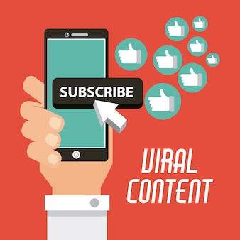 Main de contenu viral avec mobile
