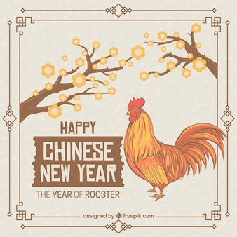 Main coq dessinée nouvelle année chinoise carte vintage