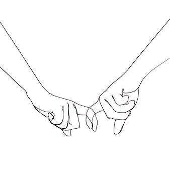 Main de couple dessiné main une ligne
