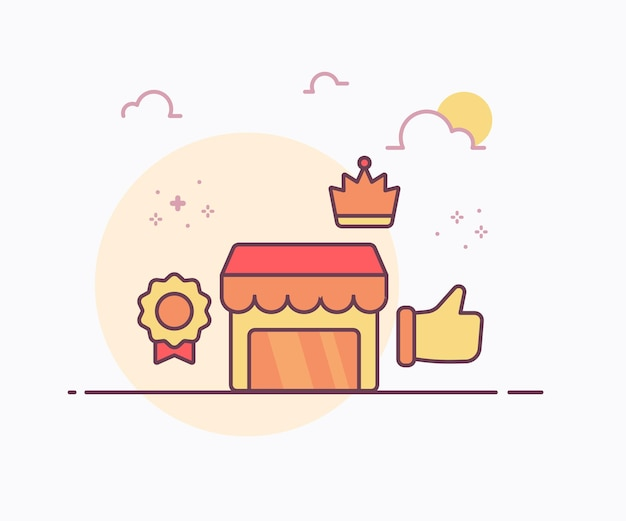 Main de couronne d'insigne de magasin de concept de magasin premium comme une icône avec une illustration de conception de vecteur de style de ligne solide de couleur douce