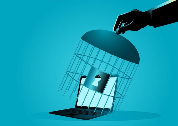 Main couvrant un ordinateur portable avec cage à oiseaux