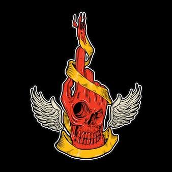 Main de crâne avec ailes dessin à la main