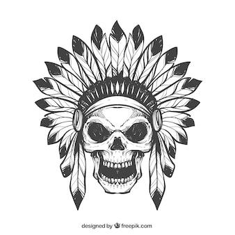 Main crâne dessiné avec des plumes chapeau