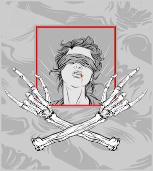 Main de crâne avec une fille