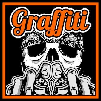 Main crâne, tenue, spay, peinture, graffiti