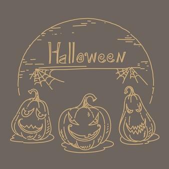 Main de croquis halloween dessinée sur fond marron
