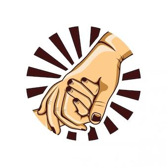 Main dans la main avec père et fils