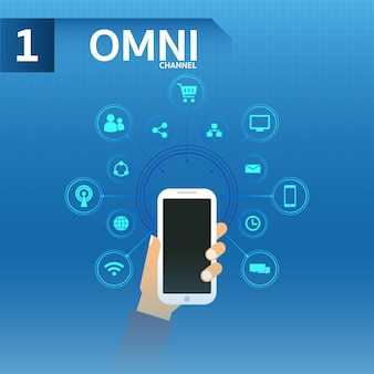 Main dans la main smartphone utiliser omnichanne