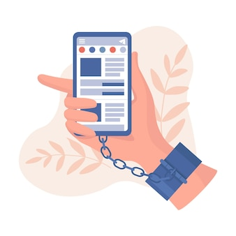 Main dans des menottes tenant illustration de smartphone