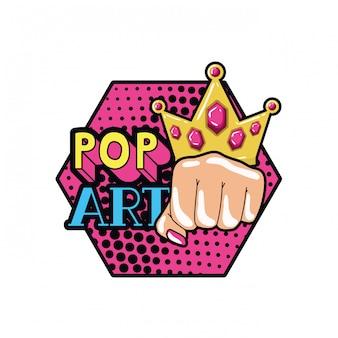 Main dans le signe du pop art