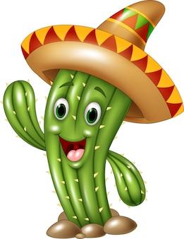 Main de dessin animé mexicain de cactus